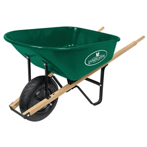 Landscapers Select Wheelbarrow, Green, Lacquered Wood Handle, 6 Cu-Ft Heap, Steel, 16 In Block Tire
