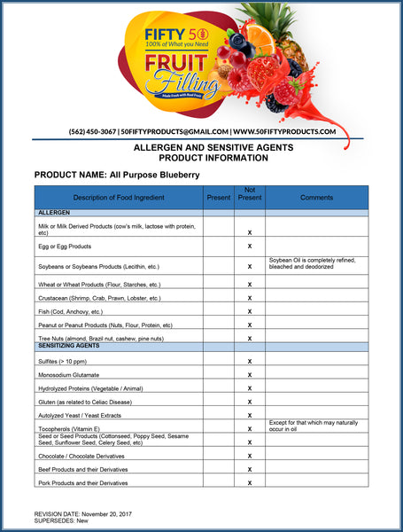 Allergen Information for Cake and Pastry Fillings
