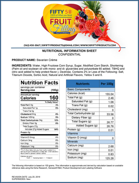Bavarian Cream Cake & Pastry Filling Nutritional Information