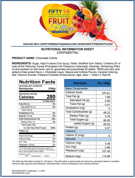 Chocolate Creme Cake & Pastry Filling Nutritional Information