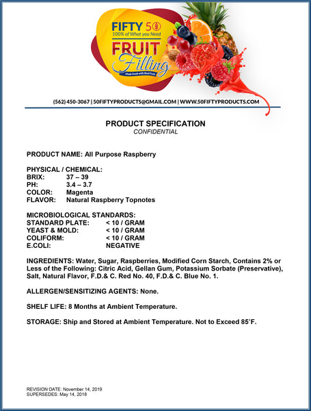 Product Specifications for Cake and Pastry Fillings