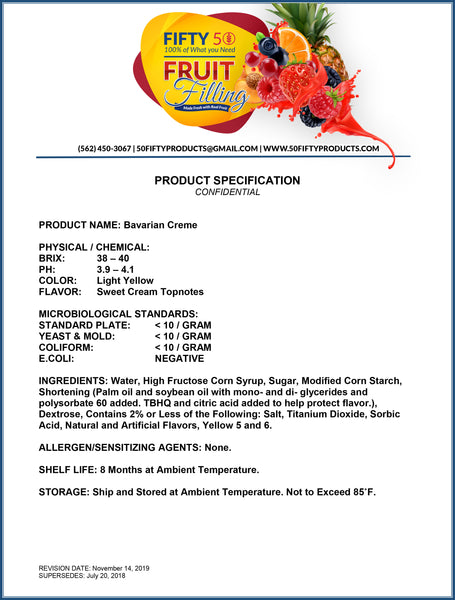 Product Spec Sheet for Cake and Pastry Fillings