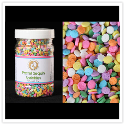 Fun decorative designs of edible sprinkles and jimmies