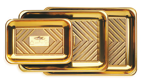 Gold Kado Pastry Trays great for pastries, sandwiches, cakes, cupcakes, appetizers, hors d'oeuvres, cookies, brownies, sushi, savory items, and other edible food products. Wholesale food protection for bakery and restaurants.