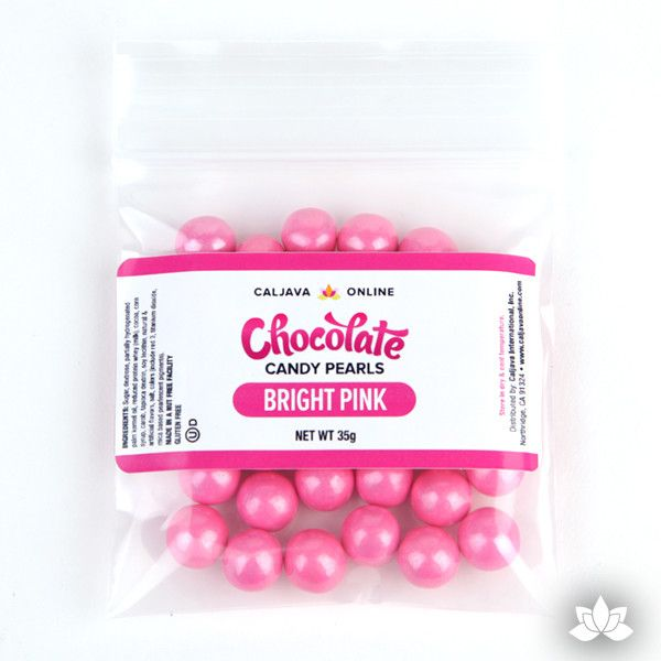 Bright Pink Chocolate Candy Pearls cake decorations perfect for cake decorating cakes and cupcakes. Wholesale cake supply. Caljava