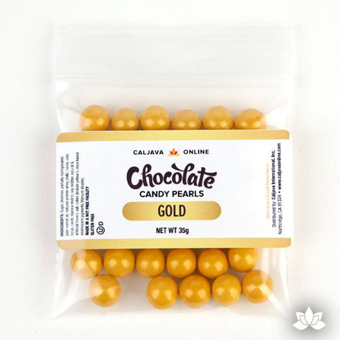 Gold Chocolate Candy Pearls cake decorations perfect for cake decorating cakes and cupcakes. Wholesale cake supply. Caljava