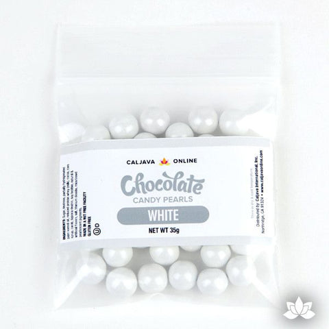 White Chocolate Candy Pearls cake decorations perfect for cake decorating cakes and cupcakes. Wholesale cake supply. Caljava