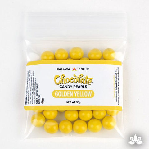 Yellow Chocolate Candy Pearls cake decorations perfect for cake decorating cakes and cupcakes. Wholesale cake supply. Caljava