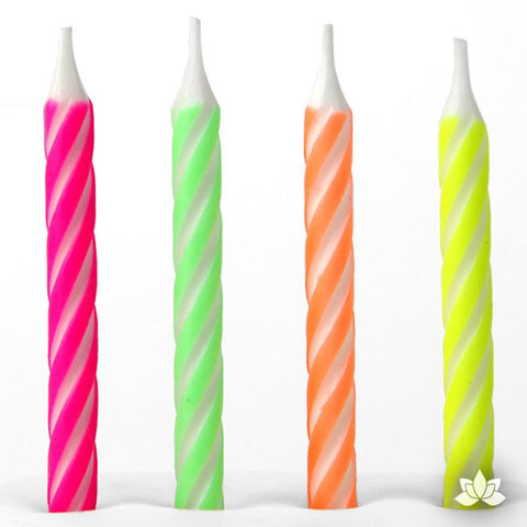 Bright Stripe Candles - Neon