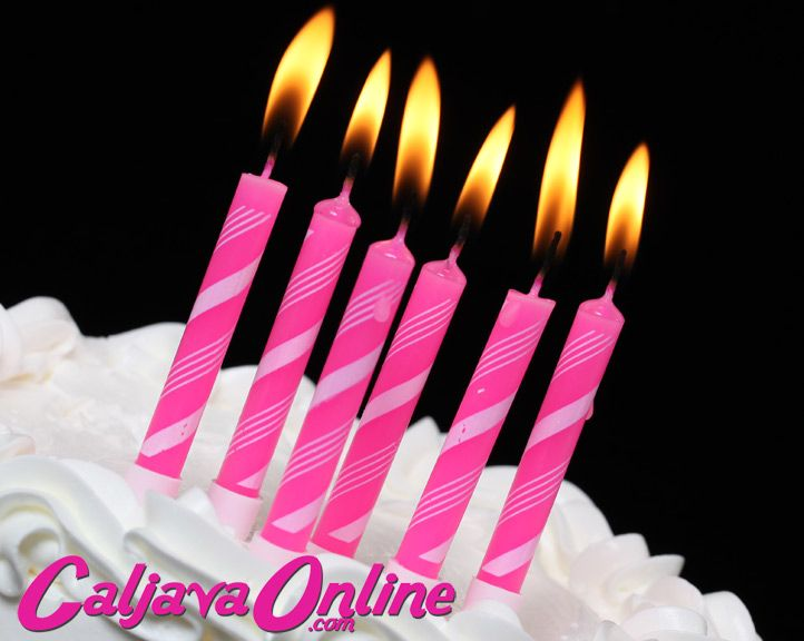 Pink Candles with White Stripes