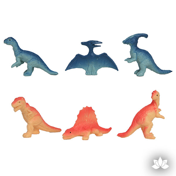 6 piece dinosaur cake toppers. They'll look ferocious on cakes and cupcakes.