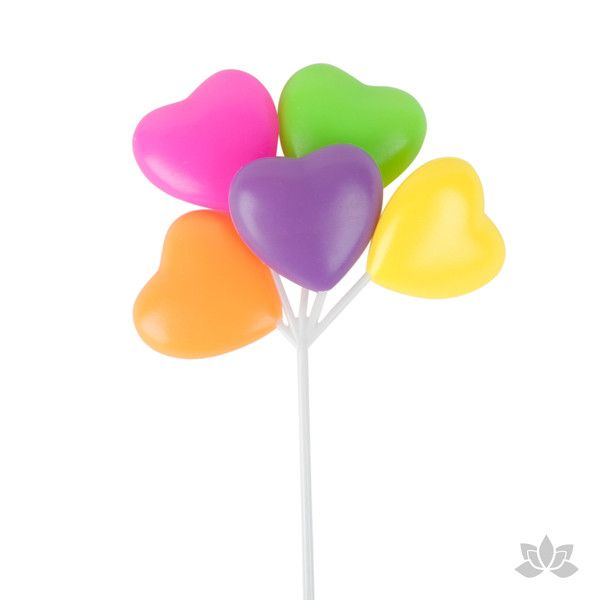 Colorful Heart Balloons Cupcake Toppers