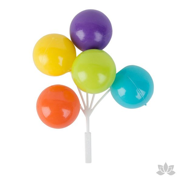 Multicolored Balloon Picks Cupcake Toppers