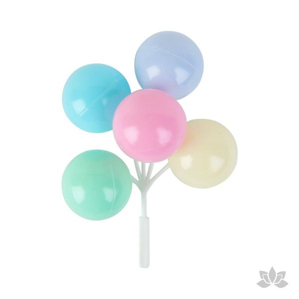 Multicolored Pastel Balloon Picks Cupcake Toppers