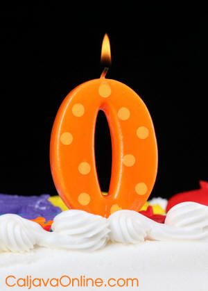 polka dott number 0 candle