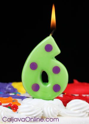 polka dott number 6 candle
