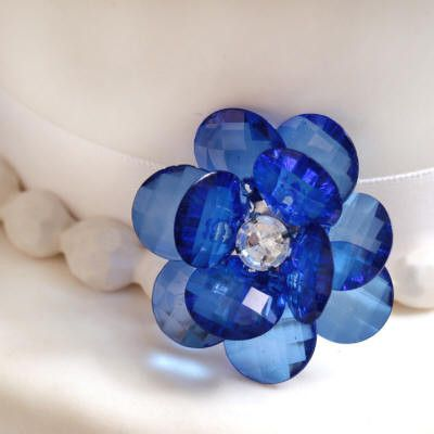 Blue Flower Buttons Cake Decoration