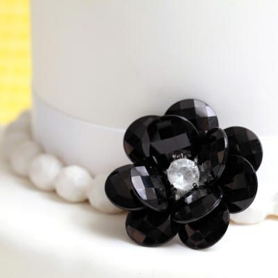 Black Flower Buttons Cake Decoration