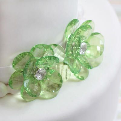 Green Flower Buttons Cake Decorations