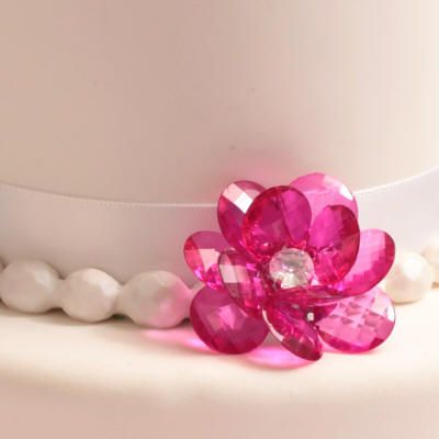 Hot Pink Flower Button Cake Decoration