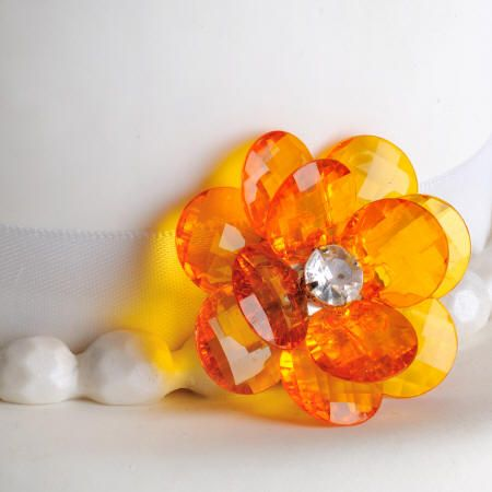 Orange Flower Buttons Cake Decorations