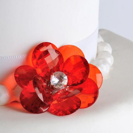 Red Flower Buttons Cake Decorations