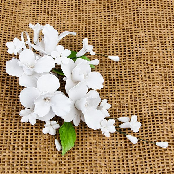 Cooktown Orchid Sprays in White are gumpaste sugarflower cake decorations perfect as cake toppers for cake decorating fondant cakes and wedding cakes. Caljava wholesale cake supply.