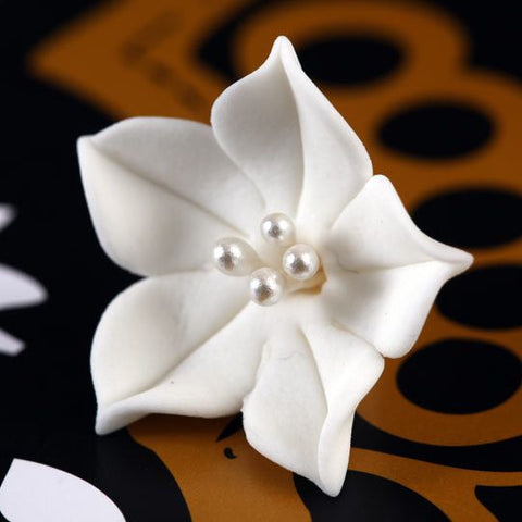 Small White Gumpaste Agapanthus Flower Blossom handmade cake decoration.