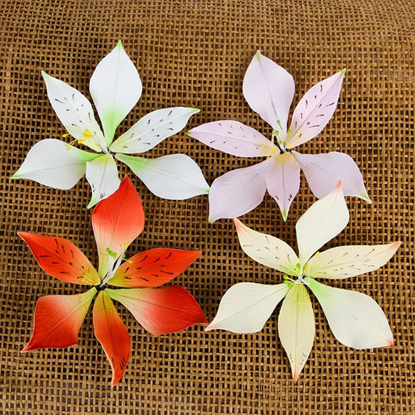 Alstroemeria Lily Sprays are gumpaste sugarflower cake decorations perfect as cake toppers for cake decorating fondant cakes and wedding cakes. Caljava wholesale cake supply.