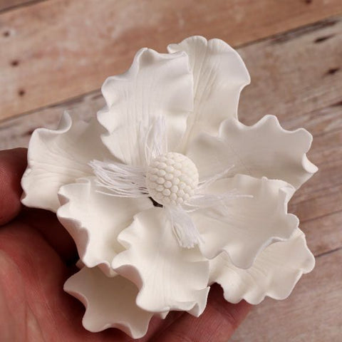 White gumpaste Anemone gumpaste sugarflower cake decoration perfect for decorating wedding cakes.  Wholesale cake supply.  Bakery Supply.