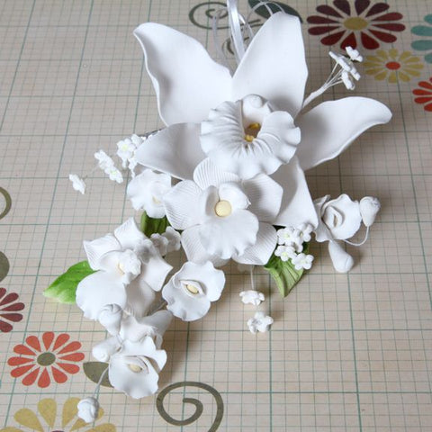 Large Cymbidium Orchid Sprays - White