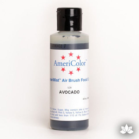 Avocado AmeriMist Air Brush Color 4.5 oz is a highly concentrated air brush color perfect for coloring non-dairy whipped icing, toppings, rolled fondant, gum paste flowers, and buttercream. Wholesale edible air brush color.