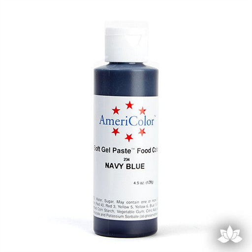 Navy Blue AmeriColor Soft Gel Paste Food Color 4.5 oz is perfect for coloring buttercream, icing, and fondant for decorated cakes and cupcakes. Wholesale edible food coloring.