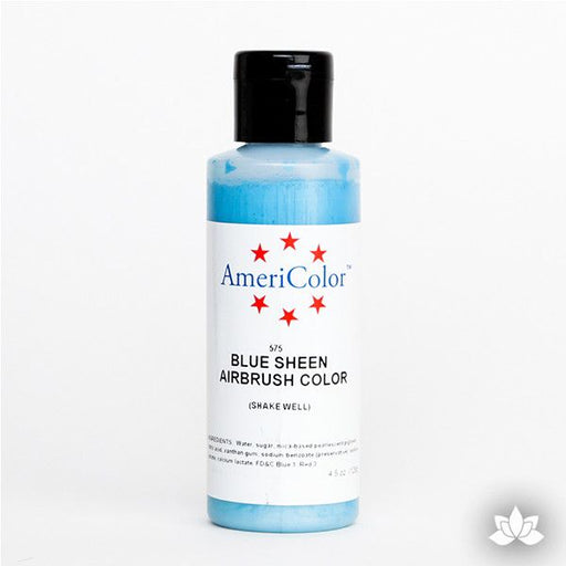 Blue Sheen AmeriMist Air Brush Color 4.5 oz is a highly concentrated air brush color perfect for coloring non-dairy whipped icing, toppings, rolled fondant, gum paste flowers, and buttercream. Wholesale edible air brush color.