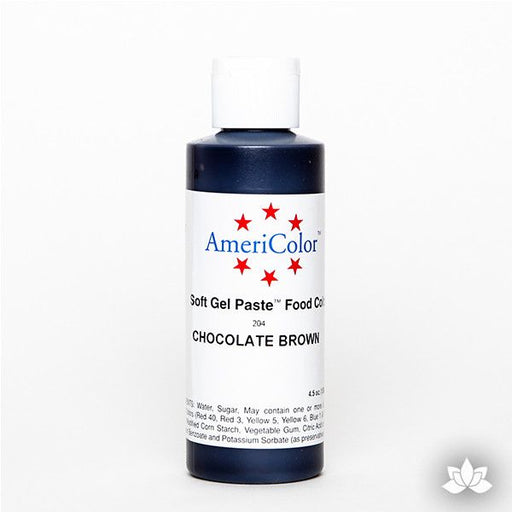Chocolate Brown AmeriColor Soft Gel Paste Food Color 4.5 oz is perfect for coloring buttercream, icing, and fondant for decorated cakes and cupcakes. Wholesale edible food coloring.
