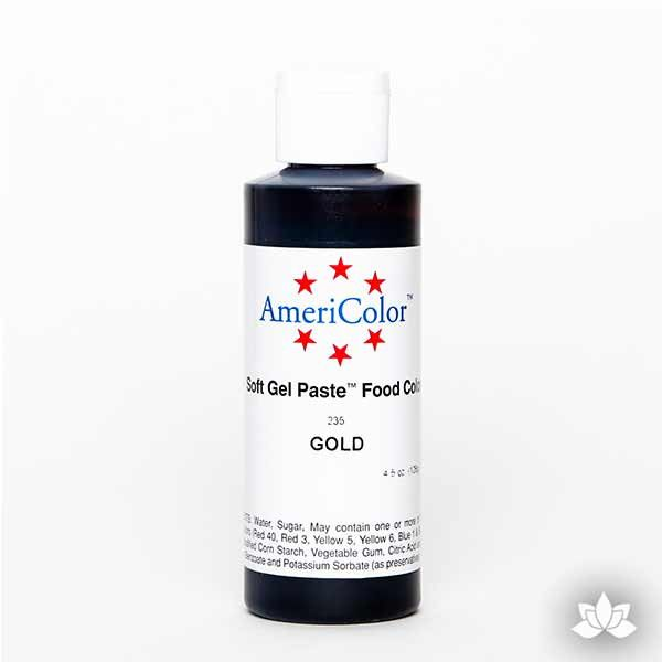 Gold AmeriColor Soft Gel Paste Food Color 4.5 oz is perfect for coloring buttercream, icing, and fondant for decorated cakes and cupcakes. Wholesale edible food coloring.