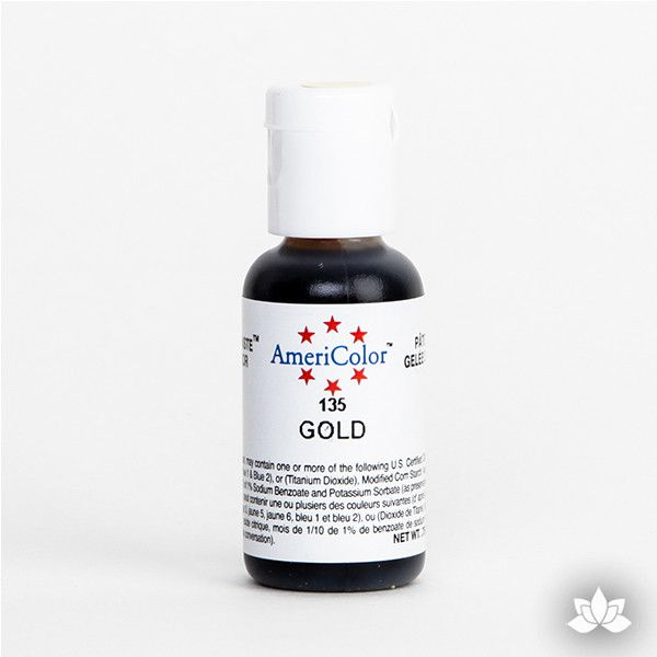 Gold AmeriColor Soft Gel Paste Food Color is perfect for coloring buttercream, icing, and fondant for decorated cakes and cupcakes. Wholesale edible food coloring.