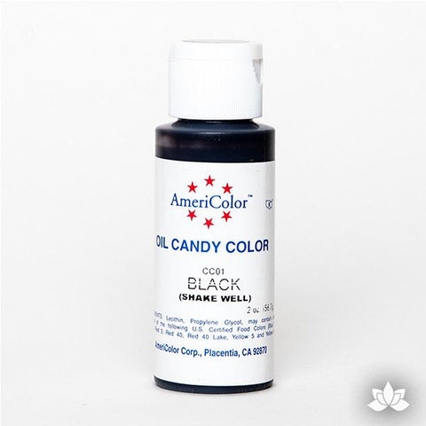 Black Oil-Based Candy Color by AmeriColor perfectly colors chocolate with rich, glossy, and vibrant colors every time. Packaged conveniently into squeeze bottles and is available in 9 colors. Wholesale edible chocolate coloring.