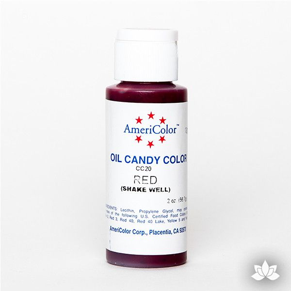 Red Oil-Based Candy Color by AmeriColor perfectly colors chocolate with rich, glossy, and vibrant colors every time. Packaged conveniently into squeeze bottles and is available in 9 colors. Wholesale edible chocolate coloring.
