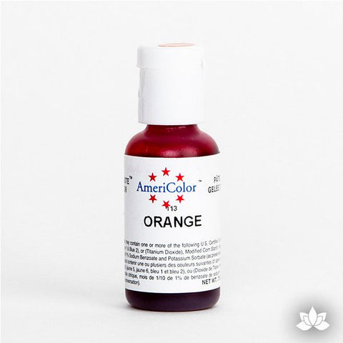 Orange AmeriColor Soft Gel Paste Food Color is perfect for coloring buttercream, icing, and fondant for decorated cakes and cupcakes. Wholesale edible food coloring.