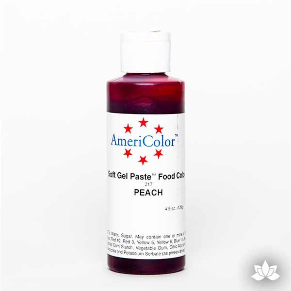 Peach AmeriColor Soft Gel Paste Food Color 4.5 oz is perfect for coloring buttercream, icing, and fondant for decorated cakes and cupcakes. Wholesale edible food coloring.