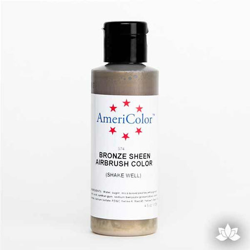 Bronze Sheen AmeriMist Air Brush Color 4.5 oz is a highly concentrated air brush color perfect for coloring non-dairy whipped icing, toppings, rolled fondant, gum paste flowers, and buttercream. Wholesale edible air brush color.