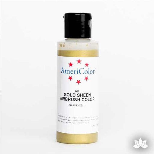 Gold Sheen AmeriMist Air Brush Color 4.5 oz is a highly concentrated air brush color perfect for coloring non-dairy whipped icing, toppings, rolled fondant, gum paste flowers, and buttercream. Wholesale edible air brush color.