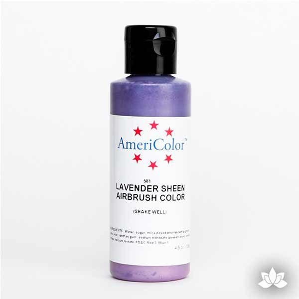 Lavender Sheen AmeriMist Air Brush Color 4.5 oz is a highly concentrated air brush color perfect for coloring non-dairy whipped icing, toppings, rolled fondant, gum paste flowers, and buttercream. Wholesale edible air brush color.