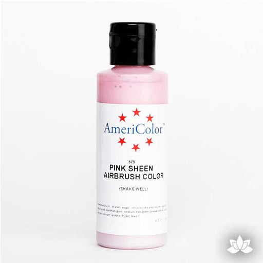 Pink Sheen AmeriMist Air Brush Color 4.5 oz is a highly concentrated air brush color perfect for coloring non-dairy whipped icing, toppings, rolled fondant, gum paste flowers, and buttercream. Wholesale edible air brush color.