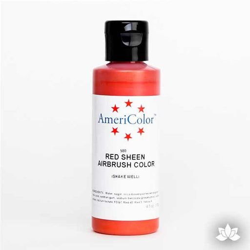 Red Sheen AmeriMist Air Brush Color 4.5 oz is a highly concentrated air brush color perfect for coloring non-dairy whipped icing, toppings, rolled fondant, gum paste flowers, and buttercream. Wholesale edible air brush color.