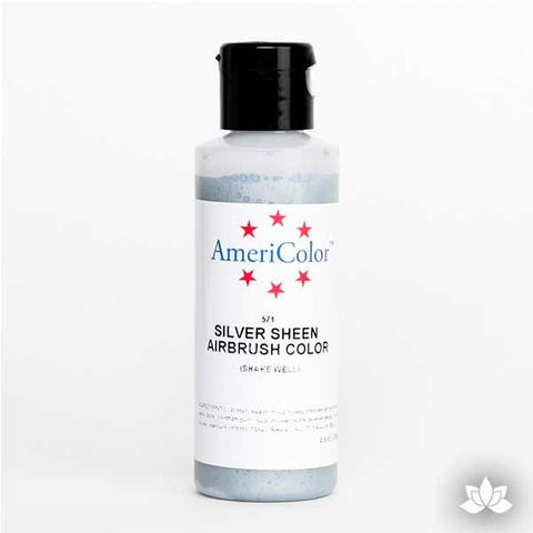 Silver Sheen AmeriMist Air Brush Color 4.5 oz is a highly concentrated air brush color perfect for coloring non-dairy whipped icing, toppings, rolled fondant, gum paste flowers, and buttercream. Wholesale edible air brush color.