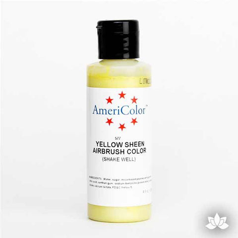 Yellow Sheen AmeriMist Air Brush Color 4.5 oz is a highly concentrated air brush color perfect for coloring non-dairy whipped icing, toppings, rolled fondant, gum paste flowers, and buttercream. Wholesale edible air brush color.