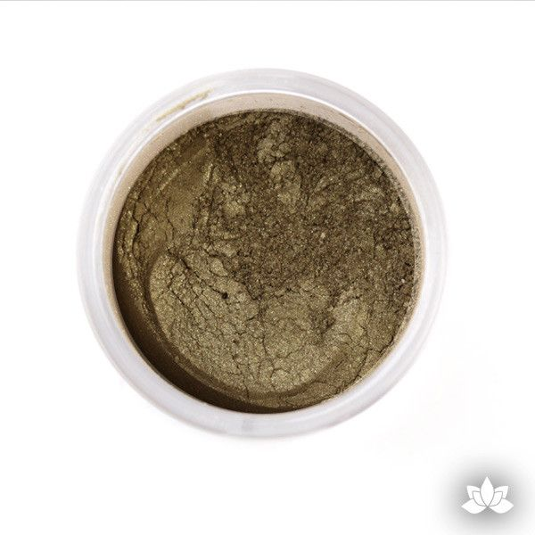 Olive Green Luster Dust Colors food coloring perfect for cake decorating fondant cakes, cupcakes, cake pops, wedding cakes, and sugarflowers. Dusting color. Cake supply.