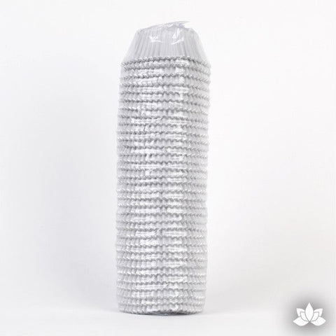 500 White Foil Baking Cups perfect for baking cupcakes & cake decorating cupcakes with fondant & icing. 500 baking cups. Wholesale cupcake supplies.